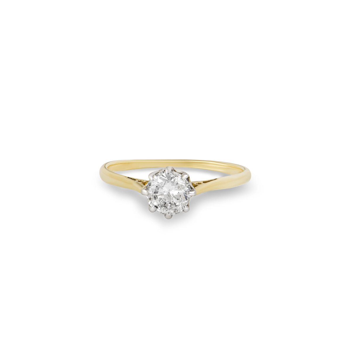 18k Yellow Gold Round Brilliant Cut Diamond Ring 0.51ct G/SI2
